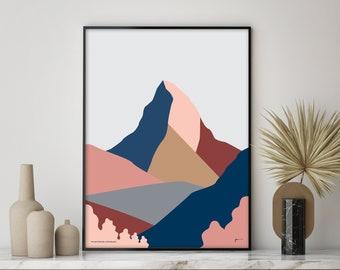 The Matterhorn Art Print. Zermatt, Switzerland and Italy. Modern Mountain. Contemporary Landscape Art. FREE SHIPPING. Bridget Hall Design