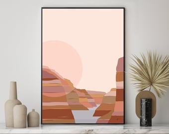 Grand Canyon National Park Modern Art Print,  unique abstract modern contemporary landscape artwork. FREE SHIPPING. Bridget Hall Design