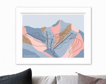Remarkables Ski Resort Trail Map. Modern Geometric Art Print. The Remarkables Mountain Range, Queenstown, New Zealand