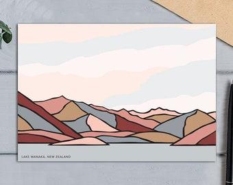 Lake Wanaka View, New Zealand. Contemporary Modern Art Mountain Landscape Greeting Card. Bridget Hall Design