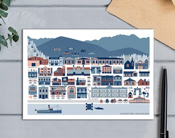 Queenstown, New Zealand Town Map Greeting Card