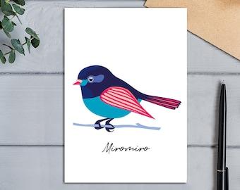 Native Birds of Aotearoa, New Zealand Miromiro (Tomtit) Modern Colourful Bird Greeting Card