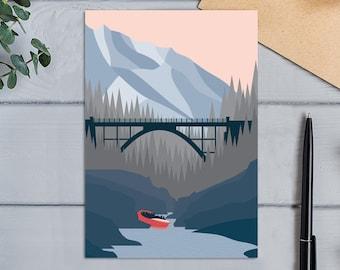 Shotover Jet Queenstown New Zealand Modern Landscape Design Jetboating the Shooter River Greeting  Card