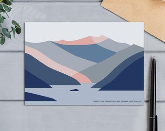 Treble Cone Ski Area viewed from Dublin Bay, Lake Wanaka, New Zealand Modern Abstract Mountain Greeting Card