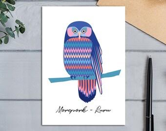 Native Birds of Aotearoa, New Zealand Morepork Owl (Ruru) Modern, Designer Greeting Card