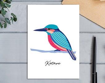 Native Birds of Aotearoa, New Zealand Kingfisher (Kotare) Modern Design Bird Greeting Card