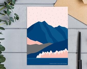Aoraki Mount Cook Modern Mountain Abstract Landscape Greeting Card
