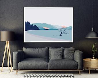 Wanaka Tree New Zealand Art Print. Modern Landscape Wall Art. Mountains and Lake