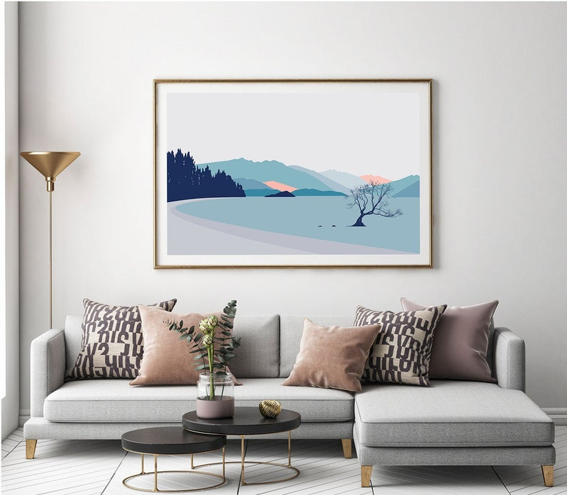 Wanaka Tree New Zealand Art Print. Contemporary lake and image 0