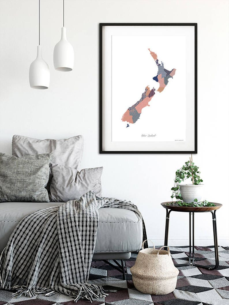Map of New Zealand Modern Art Print. FREE SHIPPING image 0