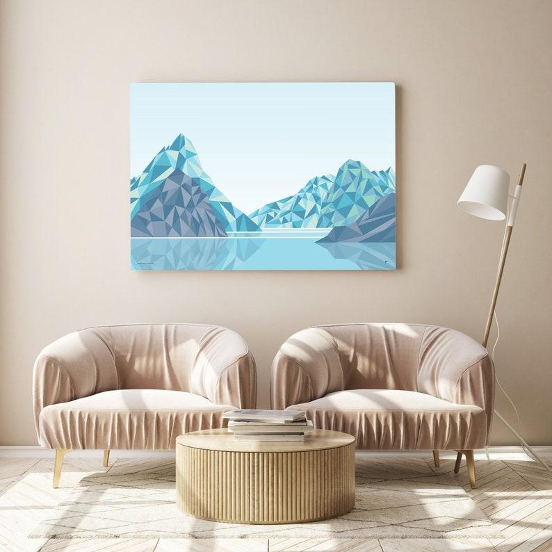 Milford Sound Mitre Peak New Zealand Art Print Modern image 0