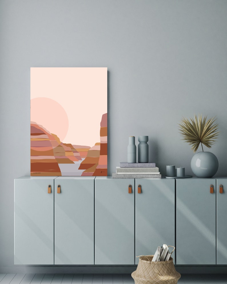 unique abstract modern contemporary landscape artwork Bridget Hall Design FREE SHIPPING Grand Canyon National Park Modern Art Print