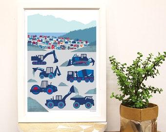 Construction Trucks Kids Room Art Print. Nursery Decor Poster