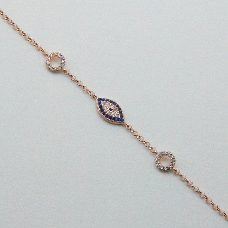 Evil Eye Enamel /& CZ Crystal Pave Pendant Turkish Nazar Sterling Silver Necklace
