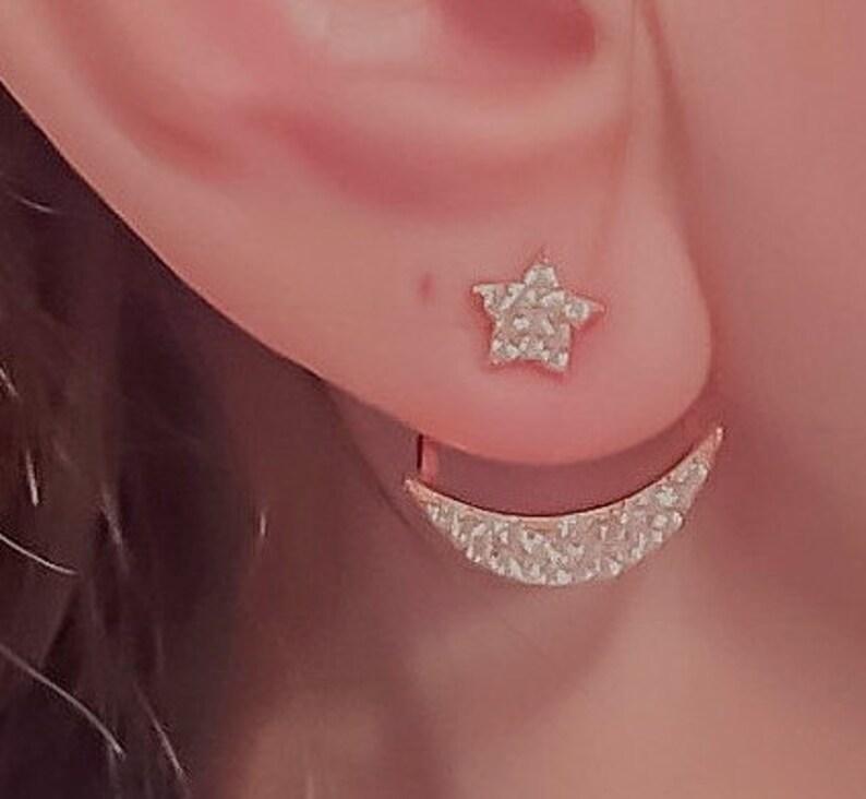 2f1c42517 Moon and Star Ear Cuff Pearl Ear Cuff Sterling Silver Ear | Etsy