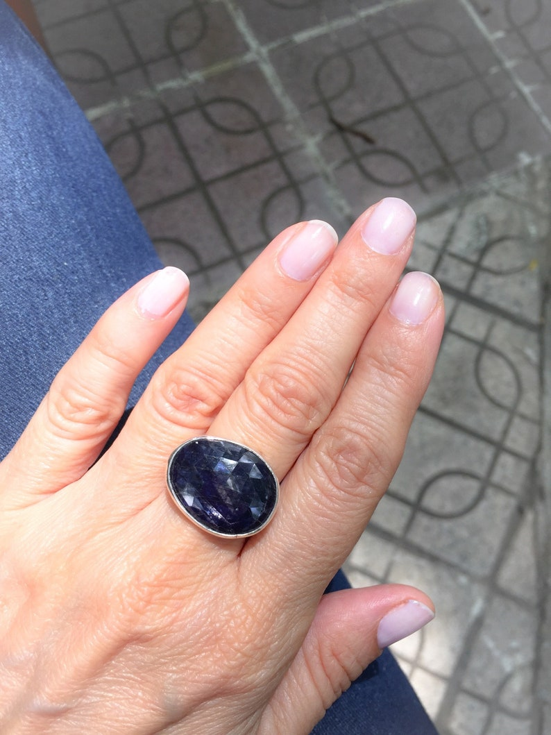 Statement Ring Freeform Flat Passion Ring Sterling Silver Gold Plated  OOAK Sapphire Gemstone Sterling Silver Ring for Women,Hammered Band