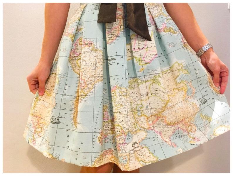 World Map Skirt Pleated Skirtmap Printed High Waisted Skirt Etsy