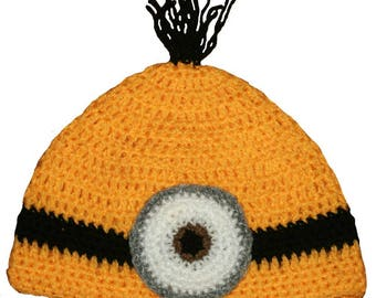 fd79cd07f79c7 Hand Crocheted Despicable Me Inspired Minion Hat One Eye HH084