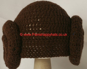 Star Wars Inspired Hand Crocheted Princess Leia Hat HH058