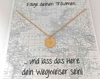Chain compass with map, pendant 12mm gold
