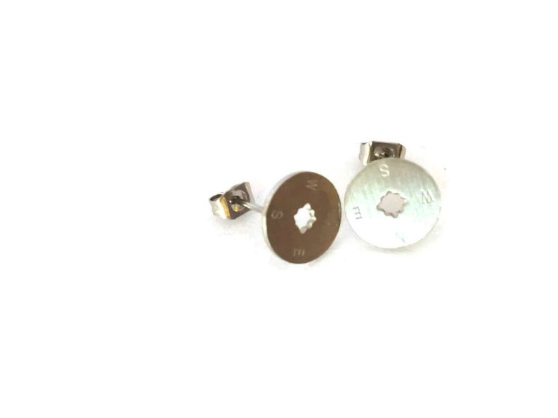 Earrings silver compass