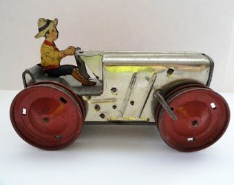 Marx Toy Tractor and Farmer Tin Lithograph FREE US SHIPPING