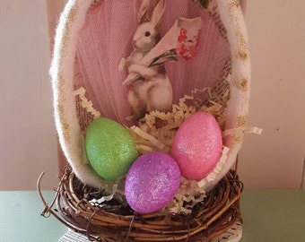 Vintage Inspired Bunny Egg in Pink Assemblage Piece