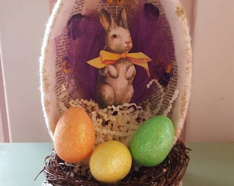 Vintage Inspired Bunny Egg in Purple Assemblage Piece