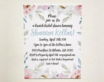 Floral / Brunch/ Spring - Bridal Shower- Invitations and Envelopes- Custom - Digital File