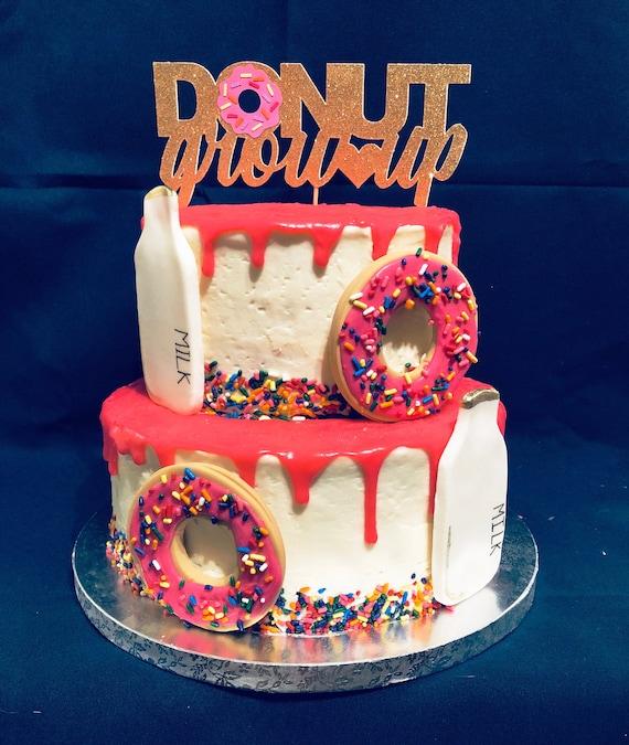 Superb Donut Grow Up Cake Topper Gold Glitter Birthday Cake Etsy Funny Birthday Cards Online Benoljebrpdamsfinfo
