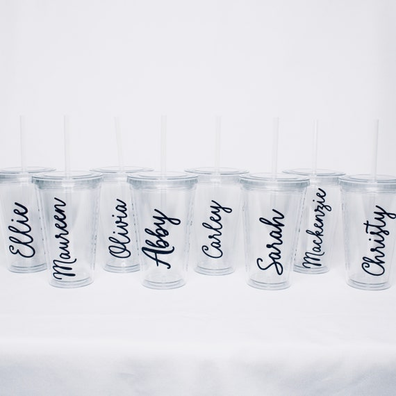 775f58d9e93 8 Custom Clear Tumblers Wedding Party Gift Bridesmaids | Etsy