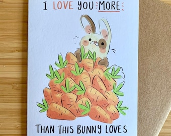 A6 greeting card birthday anniversary valentine's love well done congratulations cute bunny rabbit illustrated card illustration