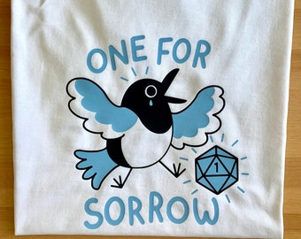 One For Sorrow D&D Magpie Tee dungeons and dragons t-shirt clothing tshirt white top D20 illustrated vinyl design