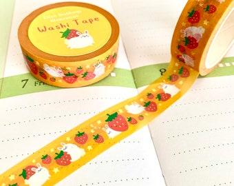 Bunny X Strawberry Washi Tape illustrated printed Japanese kraft washi paper recyclable kawaii