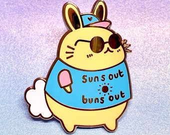 Enamel Pin cute Suns Out Buns Out bunny rabbit enamel pin badge animal anxiety scared lapel pin bag accessory gift idea