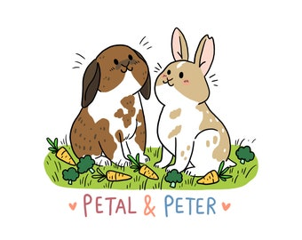 Digital Pet portrait, cute custom animal drawing, gift idea, cat, dog, rabbit, rat, bird, hedgehog, lizard, ferret, commission, illustration