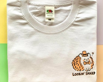 Lookin' Sharp T-Shirt Tee cute unisex graphic spiky lad peach white hedgehog clothing top illustrated quirky gift illustration