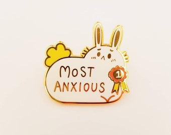 Enamel Pin cute most anxious bunny rabbit enamel pin badge animal anxiety scared lapel pin bag accessory gift idea
