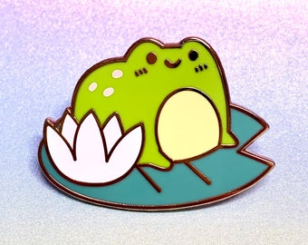 Enamel Pin cute Frog on Lily Pad enamel pin badge animal anxiety scared lapel pin bag accessory gift idea