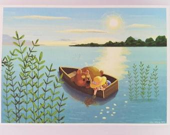 A5 Art Print girl and bear boat cute animal illustration art inspirational gift idea home decor kid's room nursery story