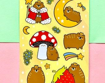 Royal Bear Sticker Sheet matte Vinyl illustrated stickers and match Cute bear recyclable waterproof big art label