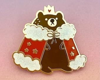 Enamel Pin cute Royal Bear Glitter lapel pin badge animal quirky gift idea bag accessory