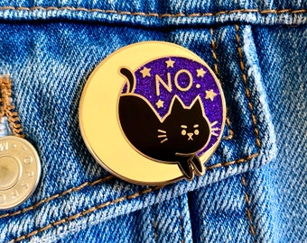 Enamel Pin cute no cat moon stars glitter glittery animal space witch black cat quirky lapel pin bag accessory gift idea