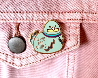 Enamel Pin cute give me chips pigeon lapel pin badge bird animal fries bag accessory gift idea