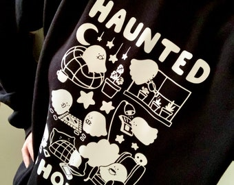 Haunted Home Sweatshirt unisex black cute spooky ghost jumper sweater illustrated vinyl design