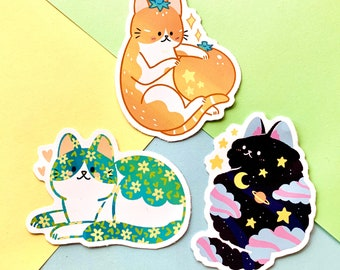 Super Cute Magical Cat Stickers Set of 3 matte Vinyl illustrated stickers and match Cute cat recyclable waterproof big art label