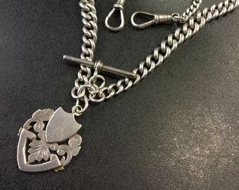 Silver Hallmarked double Albert chain with shield fob