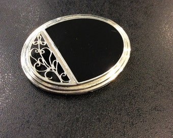 Sterling silver onyx brooch