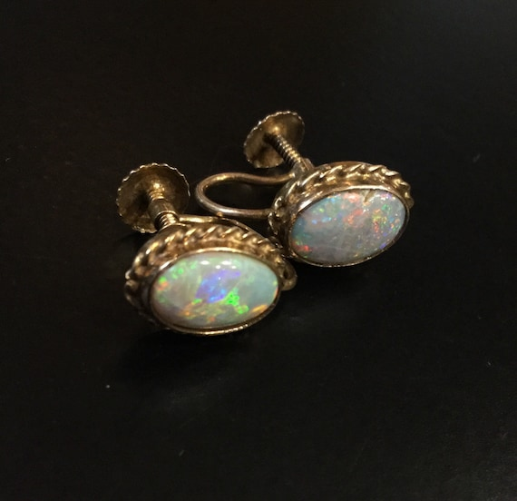 Gold opal earrings for non pierced ears
