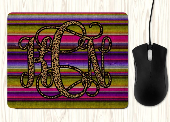 Leopard Monogram Serape Mouse Pad Office Desk Accessories Business Gift Monogram Mousepad Customized Personalized Gift Western Boho